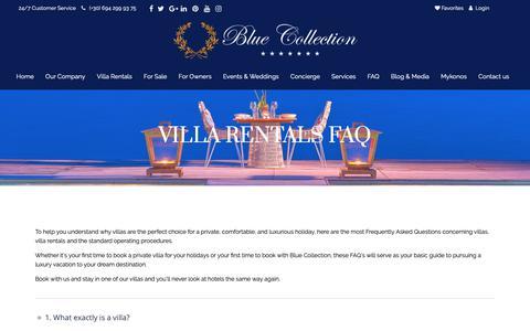 Screenshot of FAQ Page bluecollection.gr - VILLA RENTALS FAQ - Blue Collection GreeceBlue Collection Greece - captured Oct. 6, 2018