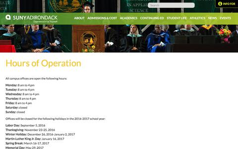 Screenshot of Hours Page sunyacc.edu - Hours of Operation | SUNY Adirondack - captured Oct. 1, 2017