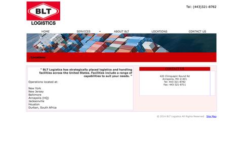 Screenshot of Locations Page blt-logistics.com - BLT Logistics - Warehousing, packing, crating and trucking experts. - captured Sept. 30, 2014