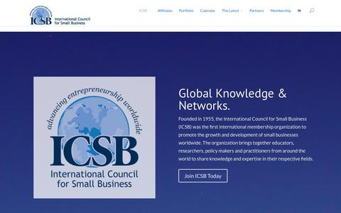 Screenshot of Home Page icsb.org - International Council for Small Business | Advancing Entrepreneurship Worldwide - captured Sept. 18, 2014