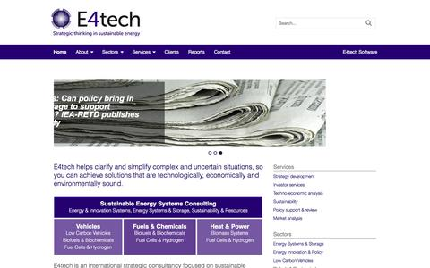 Screenshot of Home Page e4tech.com - Home - E4tech - captured July 9, 2016