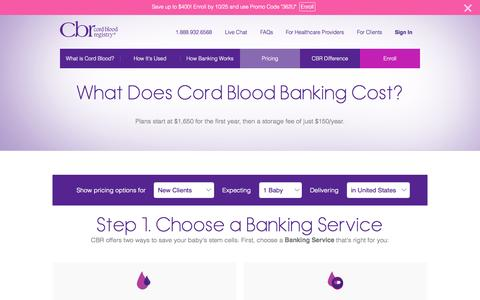 Screenshot of Pricing Page cordblood.com - Cord Blood Banking Cost | CBR - captured Oct. 5, 2015