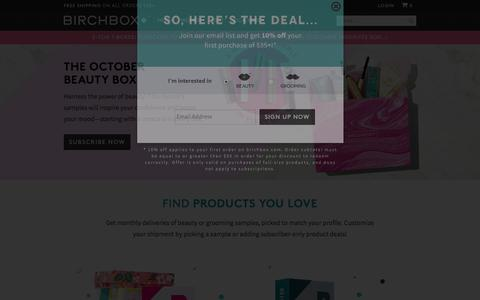 Screenshot of Home Page birchbox.com - Birchbox: The smartest way to shop for beauty and grooming products - captured Oct. 8, 2015
