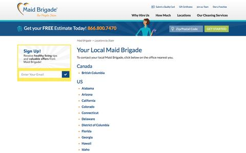 Screenshot of Locations Page maidbrigade.com - Local Cleaning Services | Local Maid Service | Maid Brigade - captured May 27, 2017
