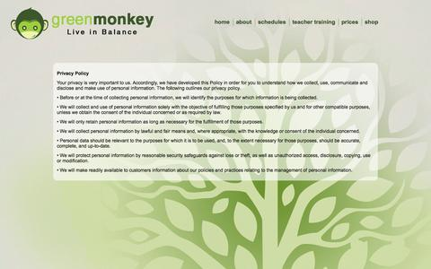 Screenshot of Privacy Page greenmonkey.com - Privacy Policy - captured Sept. 25, 2014