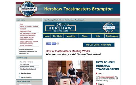Screenshot of Signup Page hershawtoastmasters.com - How Meetings Work / How to Join Hershaw Toastmasters - Hershaw Toastmasters Club 5961 Brampton, Ontario - captured Oct. 28, 2014