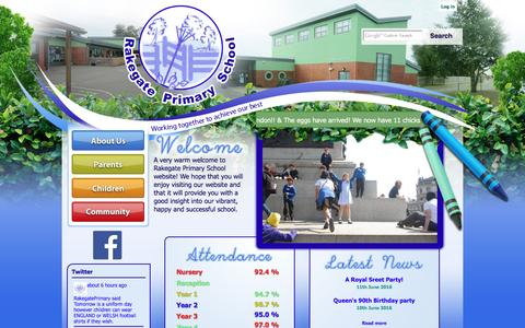 Screenshot of Home Page rakegateprimary.co.uk - Home | Rakegate Primary School - captured June 15, 2016