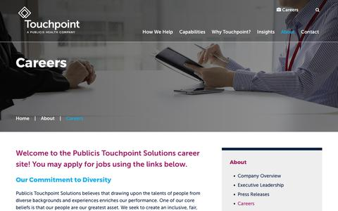 Screenshot of Jobs Page touchpointsolutions.com - Careers | Touchpoint - captured Sept. 19, 2017