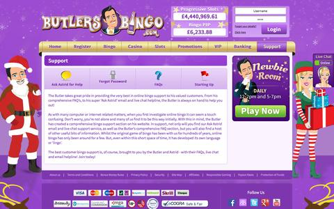 Screenshot of Support Page butlersbingo.com - Support | Butlers Bingo - captured Nov. 26, 2015