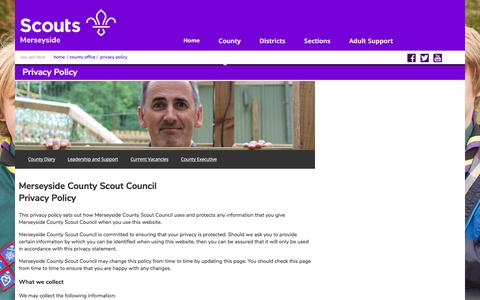 Screenshot of Privacy Page merseysidescouts.com - Merseyside Scouts :: Privacy Policy - captured July 13, 2018
