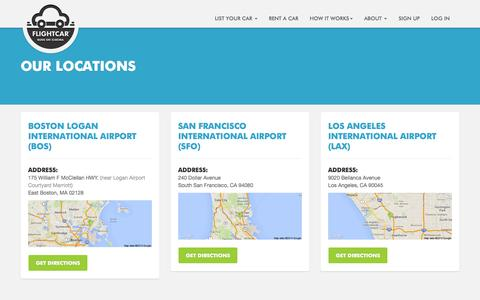 Screenshot of Locations Page flightcar.com - FlightCar Airport Parking and Car Rental Locations - captured Sept. 16, 2014