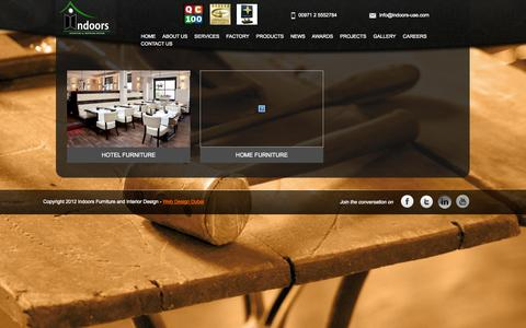 Screenshot of Products Page indoors-uae.com - Indoors Furniture & Interior Design | Furniture Manufacturer | Turnkey Furniture | FF&E Furniture, fixtures and equipment | Fitout & Interior Furniture | Loose Furniture | UAE Interior Company | Upholstery Furniture | Custom Made Furniture | Fixed Fu - captured Oct. 6, 2014