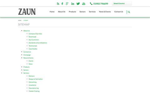 Screenshot of Site Map Page zaun.co.uk - Sitemap   Zaun Ltd - captured Oct. 27, 2014