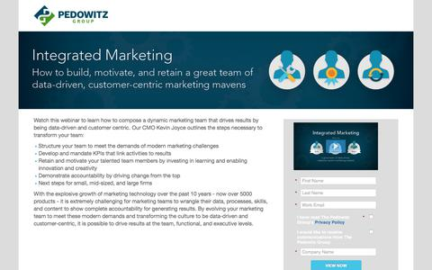 Screenshot of Landing Page pedowitzgroup.com - Integrated Marketing: how to build, motivate, and retain a great team of data-driven, customer-centric marketing mavens - captured Sept. 14, 2018