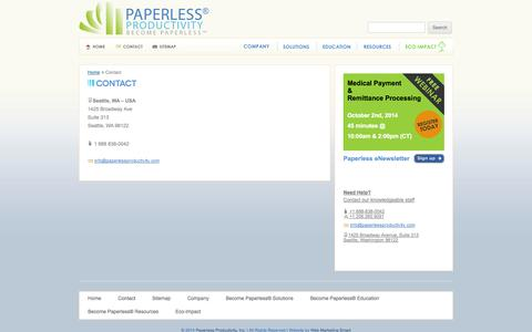 Screenshot of Contact Page paperlessproductivity.com - Contact - Paperless Productivity - captured Oct. 1, 2014