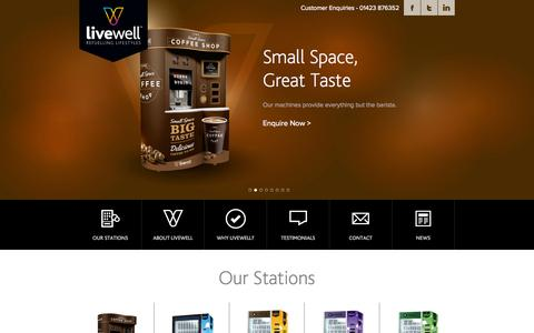 Screenshot of Home Page Contact Page Testimonials Page livewellvending.co.uk - Home « Livewell | Vending for every occasion Livewell | Vending for every occasion - captured Oct. 2, 2014