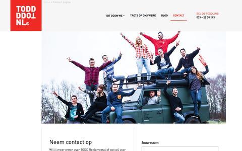 Screenshot of Contact Page todd.nl - Contact pagina - TODD Reclamestal - captured Dec. 2, 2016