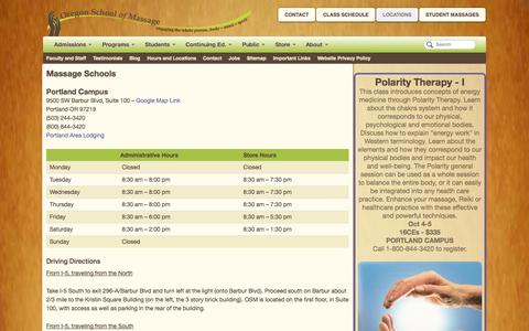 Screenshot of Locations Page oregonschoolofmassage.com - Massage Therapy Schools | Hours and Locations | Oregon School of Massage - captured Sept. 30, 2014