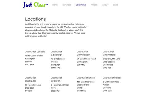 Screenshot of Locations Page just-clear.co.uk - Locations - Just Clear - captured Oct. 14, 2018