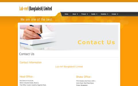 Screenshot of Contact Page lub-rref.com - Lub-rref Bangladesh - captured Oct. 3, 2014