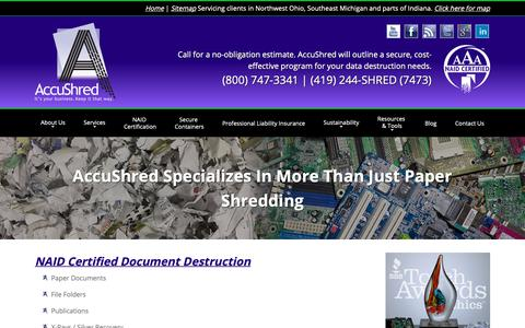 Screenshot of Services Page accushred.net - Document and Electronic Destruction Services - Northwest Ohio - captured Oct. 3, 2018