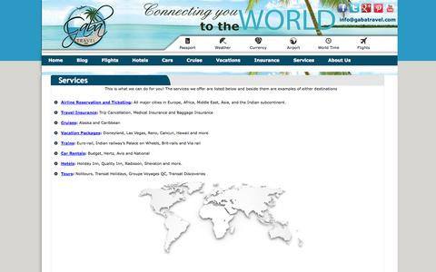 Screenshot of Services Page gabatravel.com - What We Can Do For You - Gaba Travel LTD. - captured Oct. 1, 2014