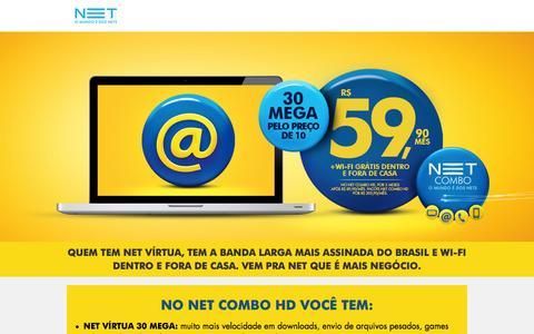 Screenshot of Home Page assinatura-net.com - NET - 30 Mega pelo preço de 10 - captured Sept. 18, 2014