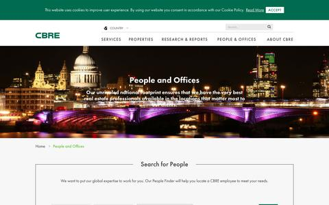 Screenshot of Contact Page cbre.co.uk - People and Offices | CBRE - captured July 19, 2017