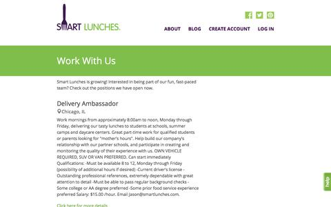 Screenshot of Jobs Page smartlunches.com - Smart Lunches | Jobs - captured Dec. 4, 2015