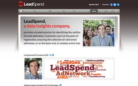 Screenshot of About Page leadspend.com - About LeadSpend - captured June 17, 2015