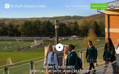 Screenshot of Home Page spsfg.org - St. Paul's School For Girls - captured Feb. 22, 2016
