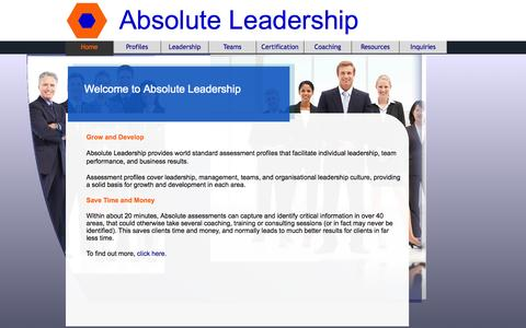 Screenshot of Home Page absolute-leadership.com - Home - Absolute Leadership - captured Sept. 30, 2014