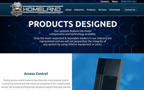Screenshot of Products Page homelandsafetysystems.com - Products Designed | Commercial Electronics | LA & AR | Homeland Safety Systems, Inc. - captured Sept. 29, 2018