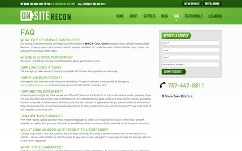 Screenshot of FAQ Page onsiterecon.com - FAQ Chesapeake, Virginia Beach > FAQ - captured Oct. 26, 2014