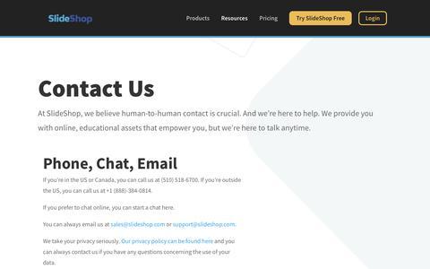 Screenshot of Contact Page slideshop.com - Contact Us - SlideShop - captured Nov. 14, 2019