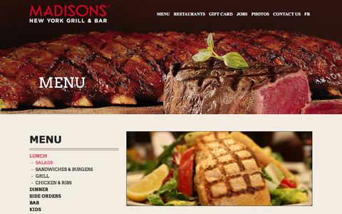 Screenshot of Menu Page madisonsnyc.com - Lunch | Madisons Restaurant - Madisons - captured Oct. 4, 2014