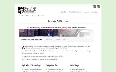 Screenshot of Services Page financialaidpros.com - Financial Aid Services - Financial Aid Professionals - captured Oct. 5, 2014