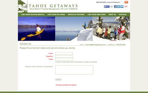 Screenshot of Contact Page tahoegetaways.com - Tahoe Getaways - Tahoe Resort Property Managment | Contact - captured Oct. 27, 2014