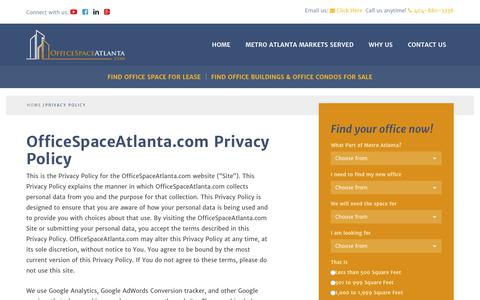 Screenshot of Privacy Page officespaceatlanta.com - Privacy Policy | OfficeSpaceAtlanta.com - captured Feb. 2, 2018