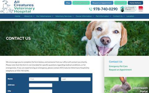 Screenshot of Contact Page creaturehealth.com - Contact Us | All Creatures Veterinary Hospital Salem - captured Oct. 3, 2018