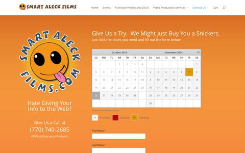 Screenshot of Contact Page smartaleckfilms.com - Contact Us - Smart Aleck Films Video Production - captured Oct. 26, 2014