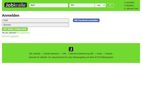 Screenshot of Login Page jobkralle.ch - Anmeldung bei Jobkralle - Jobkralle - captured June 24, 2017