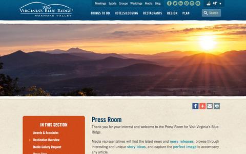 Screenshot of Press Page visitroanokeva.com - Roanoke VA Press and Media Room - News - Press Releases - Story Ideas - Image Gallery - captured Nov. 15, 2016