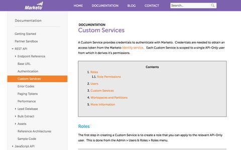 Screenshot of marketo.com - Custom Services - Marketo Developers - captured June 8, 2017