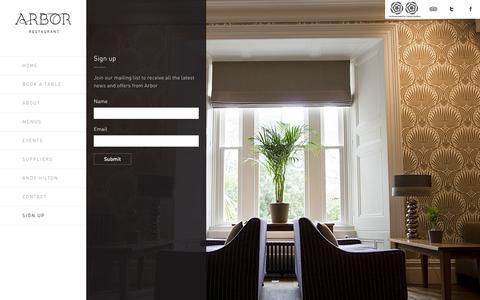 Screenshot of Signup Page arbor-restaurant.co.uk - Sign up | Arbor Restaurant - captured Nov. 4, 2014