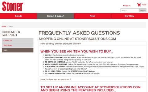 Screenshot of FAQ Page stonersolutions.com - FAQs - captured Nov. 29, 2018