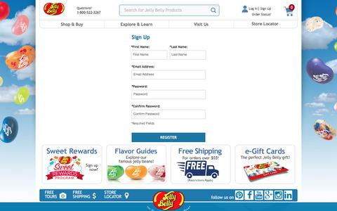Screenshot of Signup Page jellybelly.com - Sign up - Jelly Belly Candy Company - captured Sept. 22, 2018