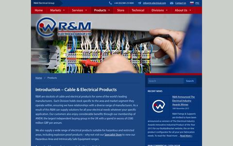 Screenshot of Products Page rm-electrical.com - Electrical Products | R&M Electrical Group - captured Feb. 4, 2016