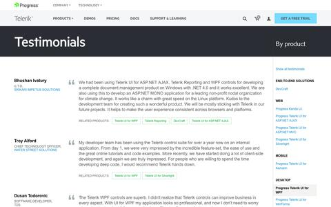 Software Testimonials Pages on Telerik Sitefinity | Website