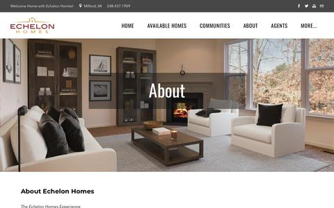 Screenshot of About Page echelonhomebuilders.com - About Echelon Homebuilders     New Homes in Commerce and South Lyon - captured Sept. 27, 2018